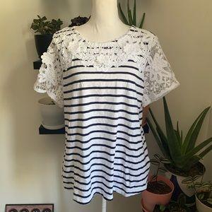 Charter Club crochet lace sleeve striped tee shirt